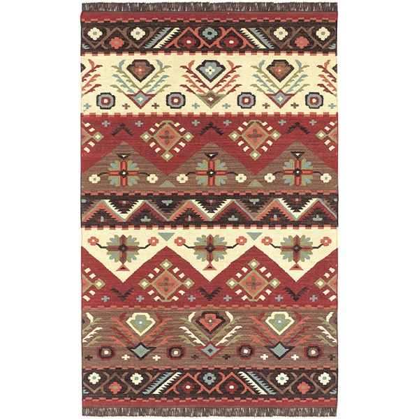 shop hand woven red tan southwestern aztec tacna wool flatweave area rug 9 39 x 13 39 on sale. Black Bedroom Furniture Sets. Home Design Ideas