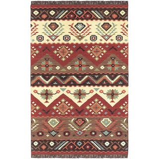 Hand-woven Red/Tan Southwestern Aztec Tacna Wool Flatweave Rug (9' x 13')