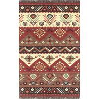 Hand-woven Red/Tan Southwestern Aztec Tacna Wool Flatweave Area Rug - 9' x 13'