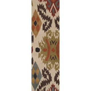 Hand-tufted Beige Ikat Biscotti Wool Rug (2'6 x 8')