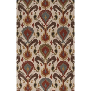 Hand-tufted Warm Ikat Parchment Wool Rug (2' x 3')