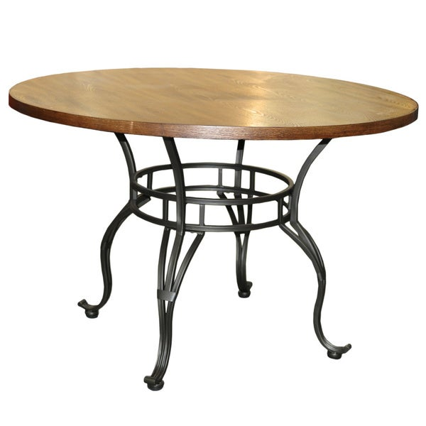 Sierra 45-inch Round Pedestal Metal/Wood Dinette Table