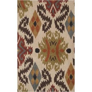Hand-tufted Beige Ikat Biscotti Wool Rug (2' x 3')