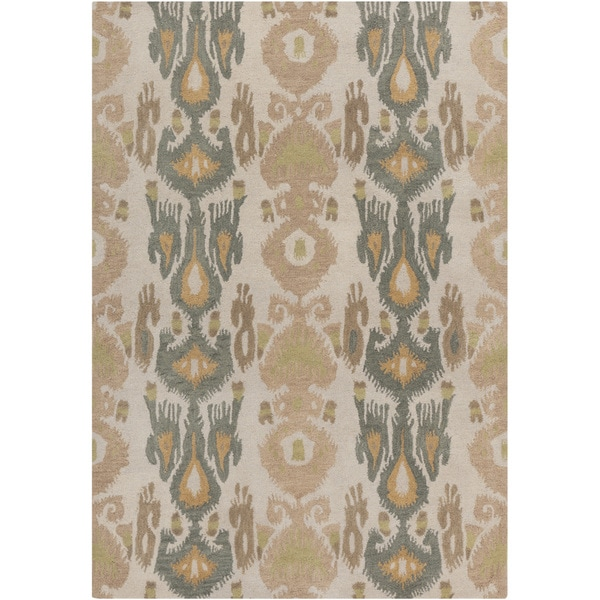 Hand-tufted Ivory Ikat Parchment Wool Rug (5' x 8')