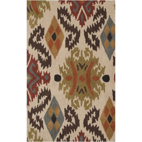 Hand-tufted Beige Ikat Biscotti Wool Area Rug - 5' x 8'