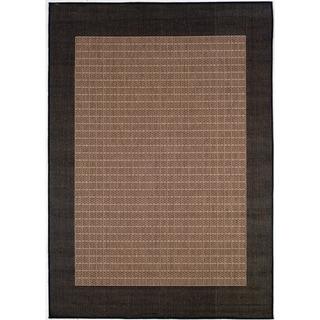 Power-Loomed Pergola Quad Cocoa/Black Polypropylene Rug (7'6 x 10'9)
