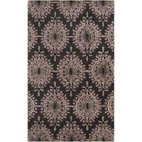 Hand-tufted Damask Floral Wool Area Rug - 9' x 13'
