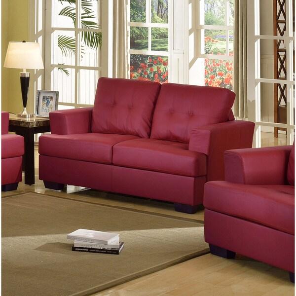 Nova Red Bonded Leather Loveseat