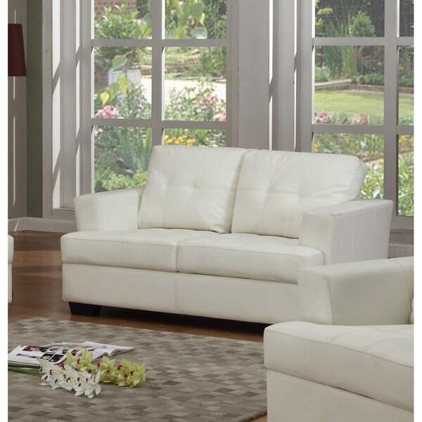 Nova White Bonded Leather Loveseat