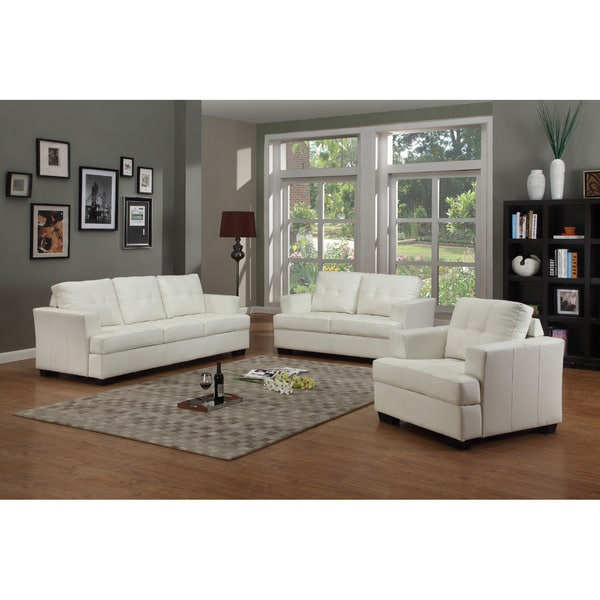 Nova White Bonded Leather 3 Piece Living Room Set Free