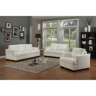 Nova White Bonded Leather 3-piece Living Room Set