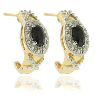 Dolce Giavonna 18k Gold over Silver Sapphire and Diamond Accent 'XO' Earrings