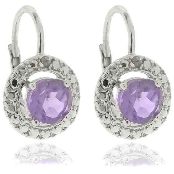 Dolce Giavonna Sterling Silver Amethyst and Diamond Accent Leverback Earrings