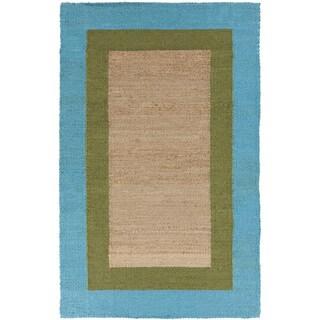 Hand-woven Bright Blue Border Natural Fiber Jute Rug (2' x 3')
