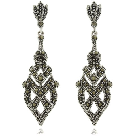 Dolce Giavonna Silverplated Marcasite Art Deco Dangle Earrings