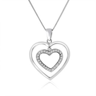 "10k White Gold 1/6ct TDW Diamond Double Heart Necklace - 9'6"" x 13'6"""