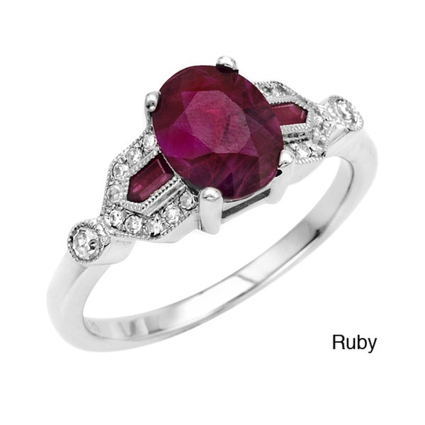 14k White Gold Ruby/ Sapphire and 1/8ct TDW Diamond Ring (G, SI1)