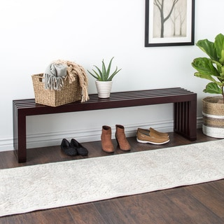 Espresso Finish 60-inch Slat Bench