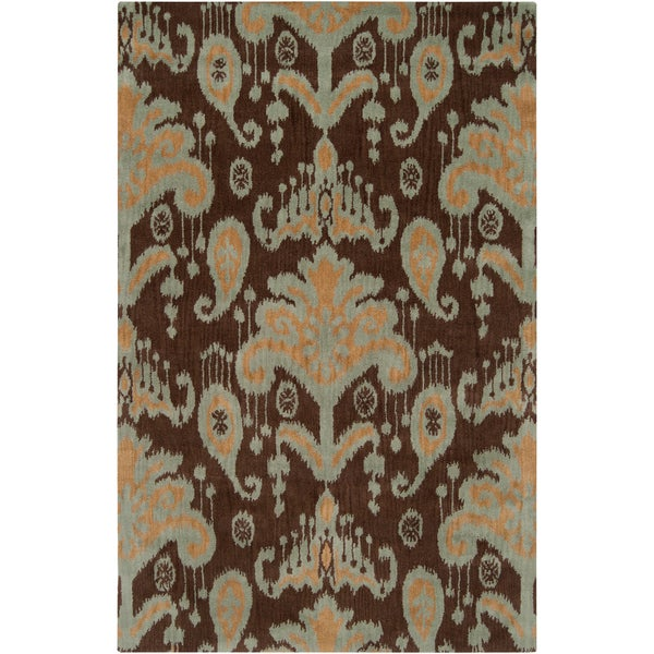 Hand-tufted Cocoa and Gold Ikat New Zealand Wool Area Rug - 9' x 13'