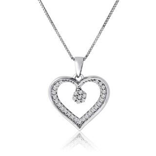 "10k White Gold 1/10ct TDW Diamond Heart Necklace - 9'6"" x 13'6"""
