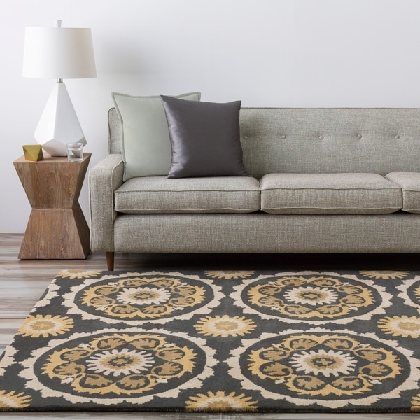 Hand-tufted Olive and Black Mosaic Medallion New Zealand Wool Area Rug - 9' x 13'