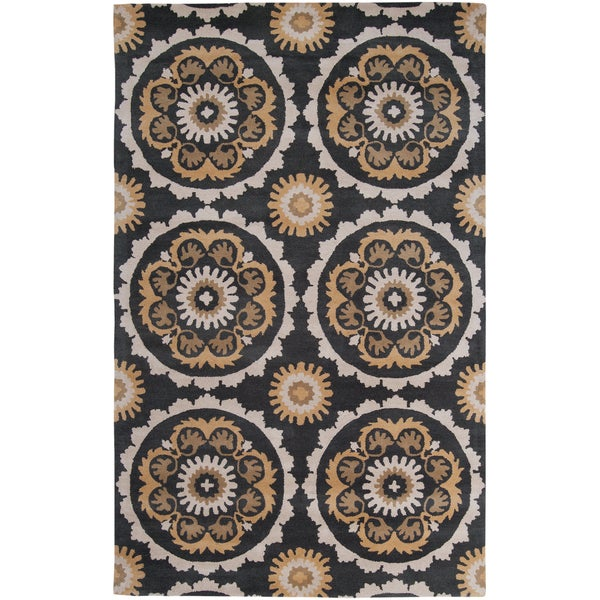 Hand-tufted Olive and Black Mosaic Medallion New Zealand Wool Area Rug (9' x 13') - 9' x 13'