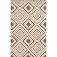 Hand-tufted Beige Papyrus Geometric Geometric Wool Area Rug - 9' x 13'