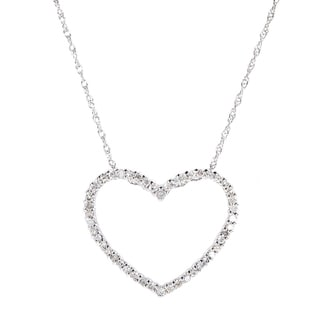 10k White Gold 1/4ct TDW Diamond Heart Necklace (H-I, I1-I2)