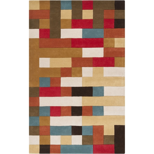 Hand-tufted Multicolored Geometric Puzzle Wool Rug (2' x 3')