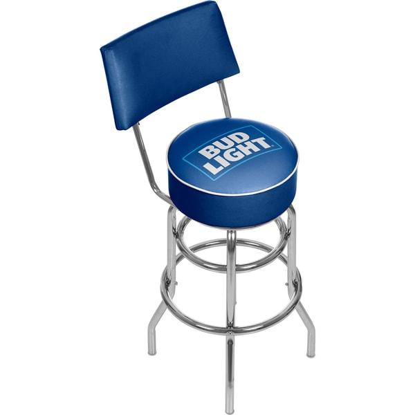 Bud Light Blue Padded Bar Stool with Back