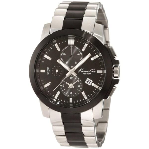 Kenneth Cole Men's Dress Sport Two-tone Black/ Silver Steel Quartz Watch