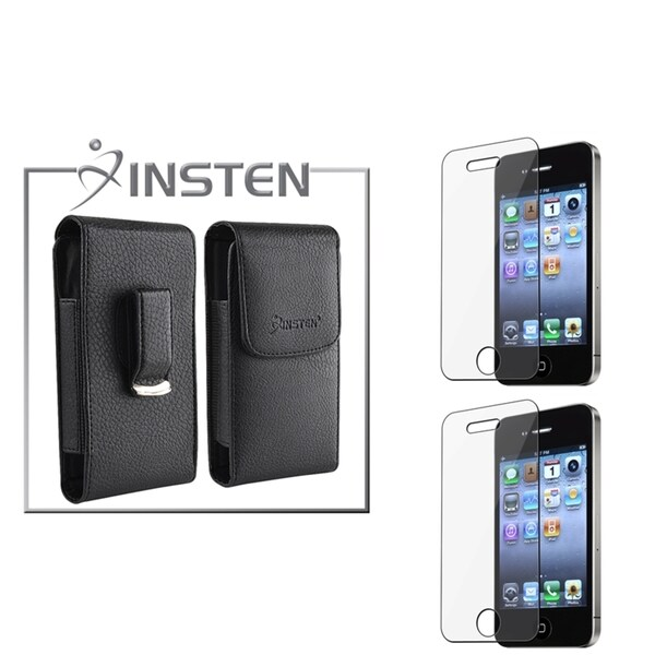 INSTEN Leather Case/ Screen Protector for Apple iPhone 4/ 4S