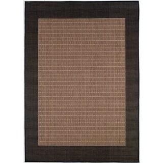 Power-Loomed Pergola Quad Cocoa/Black Polypropylene Rug (5'3 x 7'6)