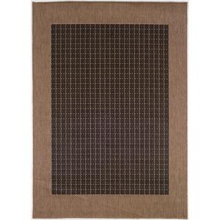Recife Black/ Cocoa Checkered Field Rug (5'3 x 7'6)