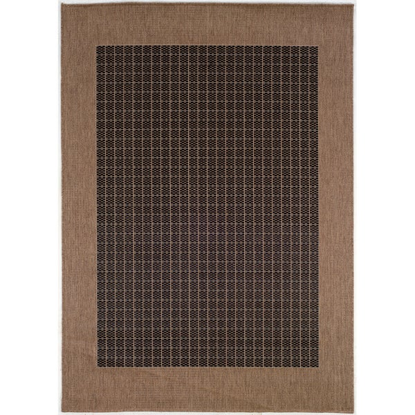 Recife Black/ Cocoa Checkered Field Rug (7'6 x 10'9)