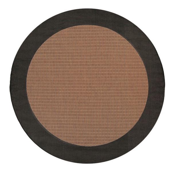 Power-Loomed Pergola Quad Cocoa/Black Polypropylene Rug (7'6 Round)