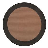Pergola Quad Cocoa/Black Round Outdoor Area Rug - 8'6 x 8'6
