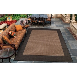 Couristan Recife Checkered Field/Cocoa-Black Indoor/Outdoor Area Rug - 2' x 3'7