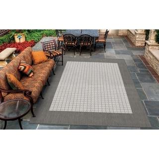 """Pergola Quad Grey-White Indoor/Outdoor Area Rug - 3'9"""" x 5'5"""""""