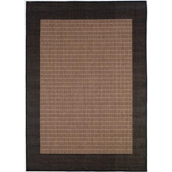 Pergola Quad Cocoa-Black Indoor/Outdoor Area Rug - 5'10 x 9'2