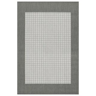 Recife Grey Checkered Field Rug (5'10 x 9'2)