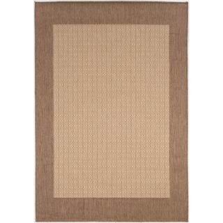 Power-Loomed Pergola Quad Natural/Cocoa Polypropylene Rug (3'9 x 5'5)