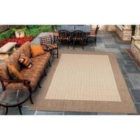 Pergola Quad Natural-Cocoa Indoor/Outdoor Area Rug - 3'9 x 5'5