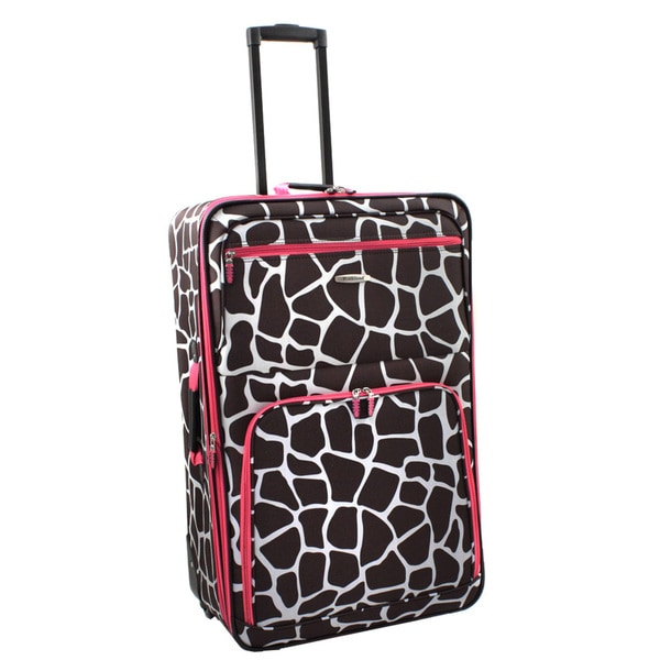 Rockland Deluxe Pink Giraffe 28-inch Expandable Rolling Upright Suitcase