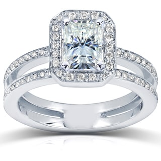Annello by Kobelli 14k White Gold Radiant-cut Moissanite and 1/3ct TDW Diamond Engagement Ring