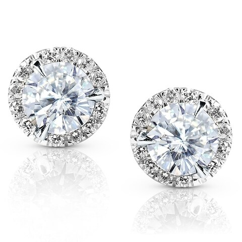 Annello by Kobelli 14k Gold 1 1/4ct TGW Round 6.5MM Moissanite (H-I) and Diamond Halo Traditional Stud Earrings