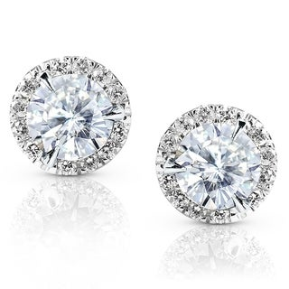Annello 14k White Gold Moissanite and 1/4ct TDW Round-cut Diamond Stud Earrings (G-H, I1-I2)