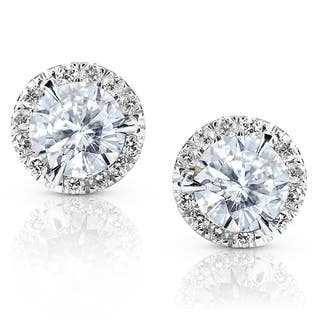 Annello by Kobelli 14k Gold 1 1/4ct TGW Round 6.5MM Moissanite (H-I) and Diamond Halo Traditional Stud Earrings|https://ak1.ostkcdn.com/images/products/7713428/P15118391.jpg?impolicy=medium