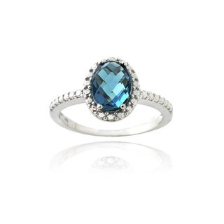 Glitzy Rocks Silver Prong-set London Blue Topaz and Diamond Accent Oval Ring