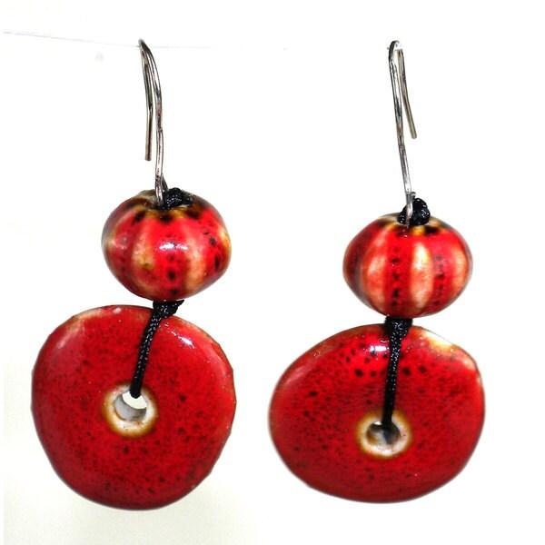 Handmade Red Ceramic Bead Earrings (China)